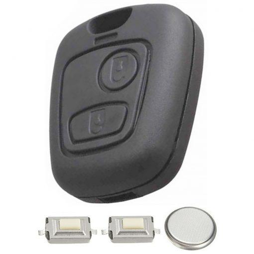 2 Button Remote Key Fob Case Repair Kit for Peugeot 207 307 w/ Logo 3