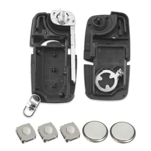 3 Button Remote Flip Key Fob Case Cover Repair Kit For Audi A2 A3 A4 A6 A8 TT 4