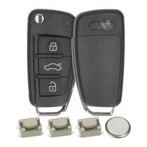 3 Button Remote Car Key Fob Case Cover DIY Service Repair Kit for Audi A3 A4 A6 Q7 TT 2