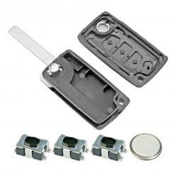 3 Button Light Remote Flip Key Fob Case Repair Kit Logo for Citroen C4 C6 Picasso 2