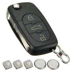 3 Button Remote Flip Key Fob Case Cover Repair Kit For Audi A2 A3 A4 A6 A8 TT