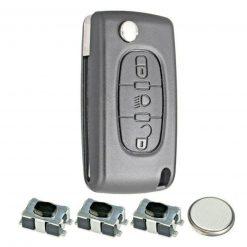 3 Button Light Remote Flip Key Fob Case Repair Kit Logo for Citroen C4 C6 Picasso