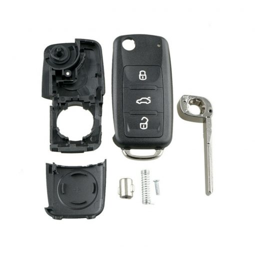 3 Button Remote Flip Key Fob Case Shell w/ Logo for Volkswagen VW Touareg 2002 - 2010 1