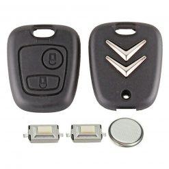 2 Button Remote Key Fob Case Repair Kit for Citroen C1 C2 C3 Pluriel Logo